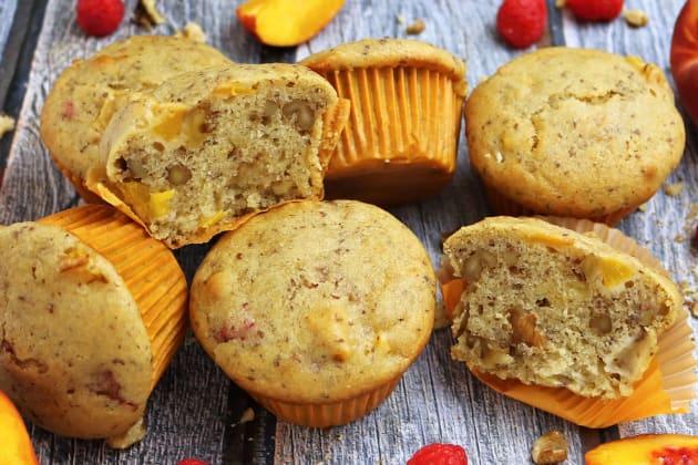 Gluten Free Nutty Vegan Peach Raspberry Muffins Image