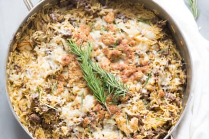 French Onion Skillet Beef Casserole