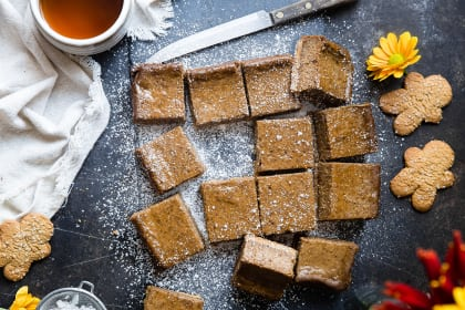 Gingerbread Coffee Vegan Cheesecake Bars