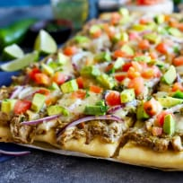 Avocado Pulled Pork Flatbread with Grilled Tomatillo Salsa Recipe