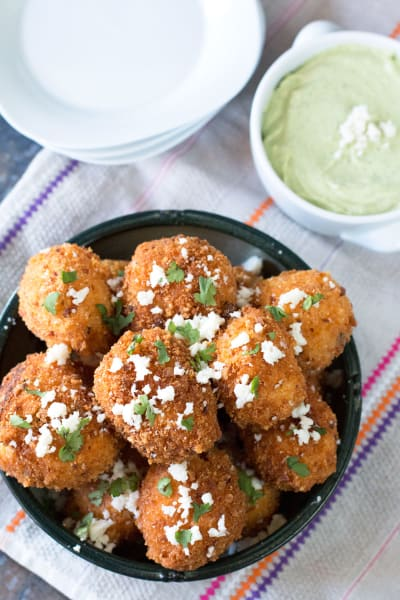 Mexican Arancini with Avocado Cilantro Dipping Sauce Image