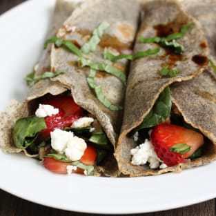 Strawberry spinach buckwheat crepes photo