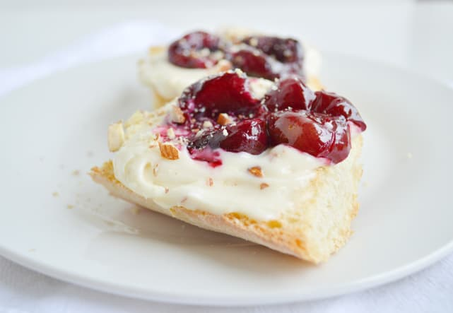 Roasted Cherry Toasts with Honey Nut Cream Cheese Recipe