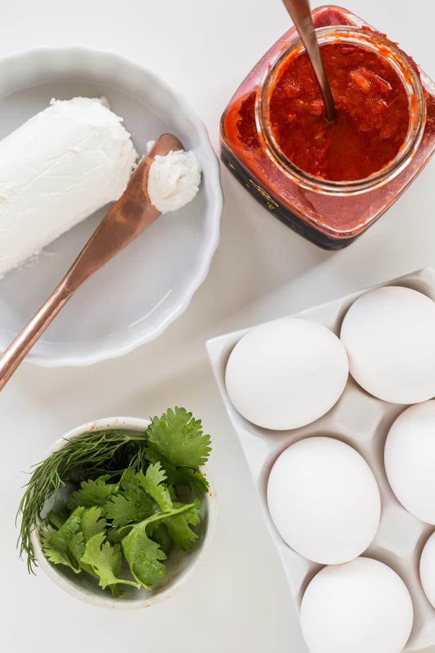 Harissa Goat Cheese Deviled Eggs Image