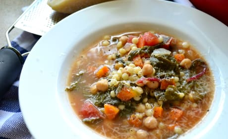 Garbanzo Bean Vegetable Soup with Pearled Couscous Image