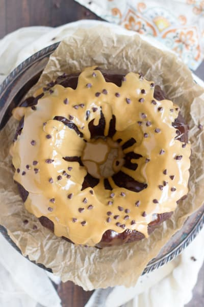 Dark Chocolate Peanut Butter Bundt Cake Pic