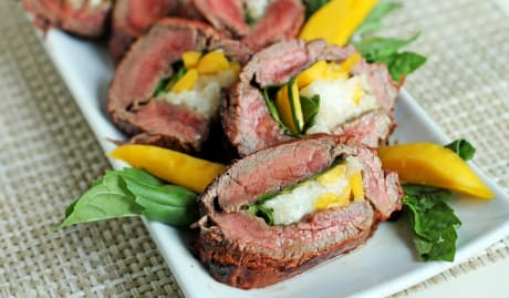 Grilled Stuffed Flank Steak with Mangoes and Basil