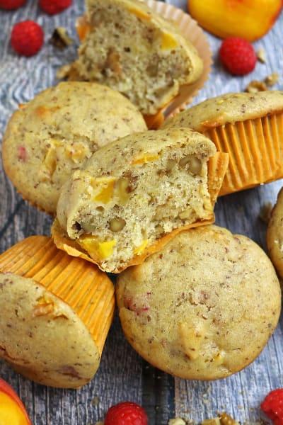 Gluten Free Nutty Vegan Peach Raspberry Muffins Pic