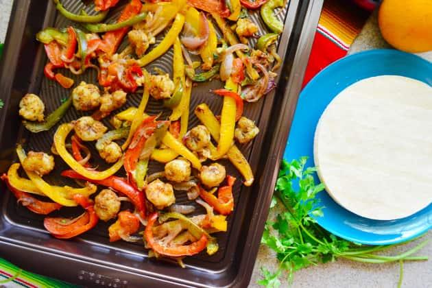 Sheet Pan Citrus Rock Shrimp Fajitas Photo
