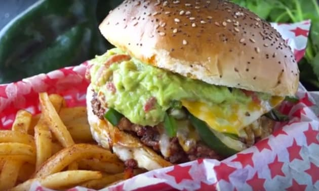 Queso Fundido Chorizo Hamburger with fries