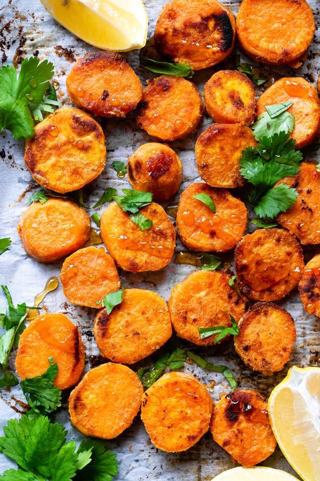Roasted Tahini Maple Sweet Potatoes Pic