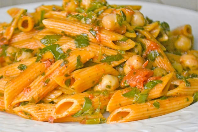 Pasta with Spinach and Beans Photo