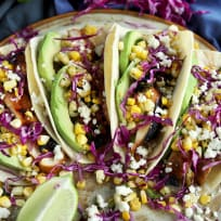 Chicken Avocado Tacos with Charred Cilantro Lime Corn Recipe