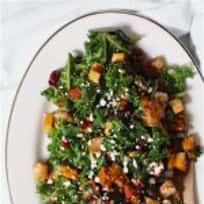 Warm Kale + Butternut Squash Salad with Maple Balsamic Vinaigrette
