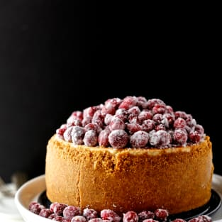 Cranberry eggnog cheesecake picture