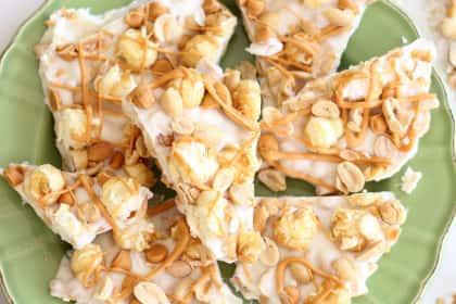 Salted Peanut Butterscotch Caramel Corn Bark