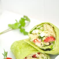 Strawberry Quinoa Salad Wraps with Maple Tahini Dressing