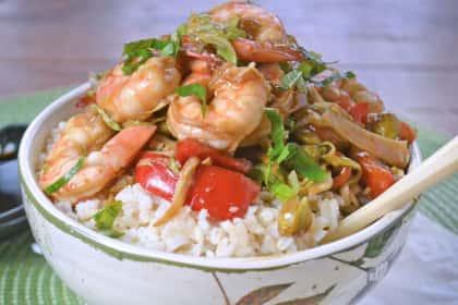Asian Shrimp Rice Bowls