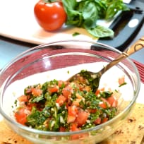 Flatbread Chips with Tomato Basil Salsa