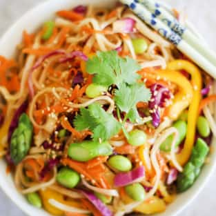 Spring vegetable pad thai photo