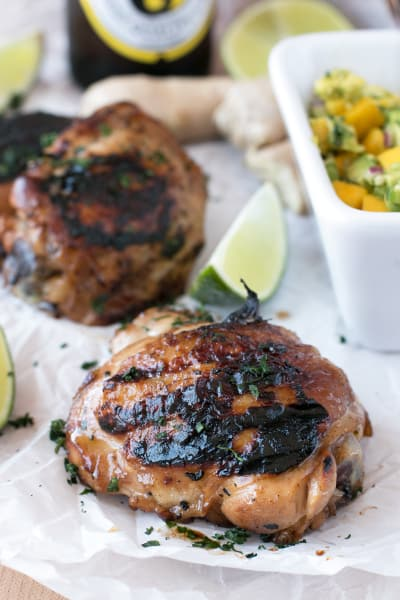 Spicy Ginger Grilled Chicken Thighs with Mango Avocado Salsa Image