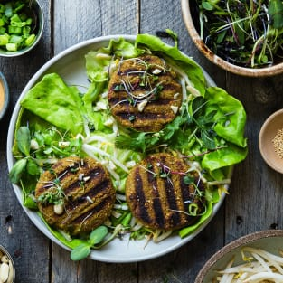 Low carb thai curry grilled veggie burgers photo