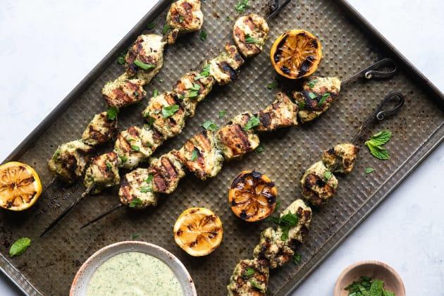 Grilled Herb Hummus Chicken Kebabs Photo