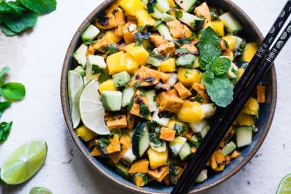 Thai Mango Avocado Salad with Grilled Sweet Potatoes