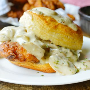 Chicken biscuits with mushroom gravy photo