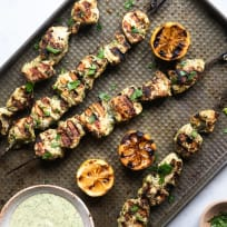 Grilled Herb Hummus Chicken Kebabs Recipe