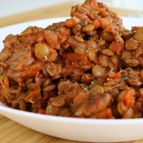 Pork Sausage with Lentils (Very Filling High-Protein Lunch/Dinner)