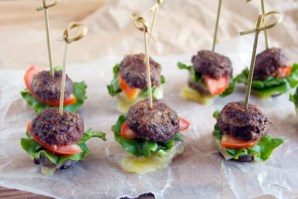 Meatball Sandwiches on a Stick