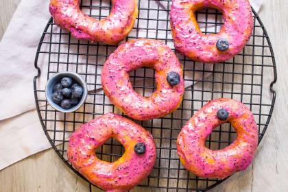 Blueberry Bourbon Brioche Doughnuts