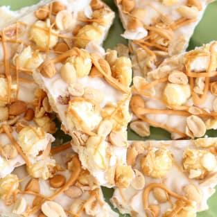 Salted peanut butterscotch caramel corn bark photo