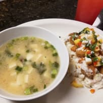 Panko Shrimp with Coconut Rice and Spicy Mango Salsa