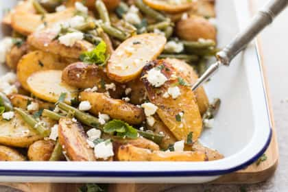 Greek Roasted Potatoes and Green Beans