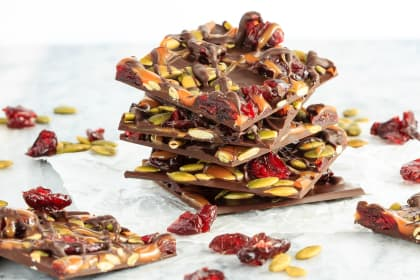 Cranberry Pumpkin Seed Salted Caramel Bark