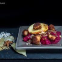 Beetroot mash & chicken sausage