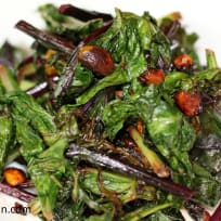 Sauted Fall Greens with Candied Pistachios