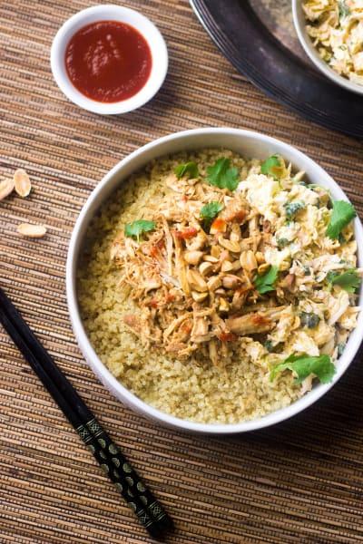 Crockpot Thai Peanut Chicken Quinoa Bowls Pic