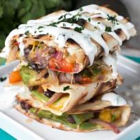 Veggie Avocado Quesadilla with Cilantro Crema Recipe