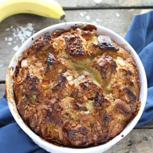 Coconut banana bread pudding photo