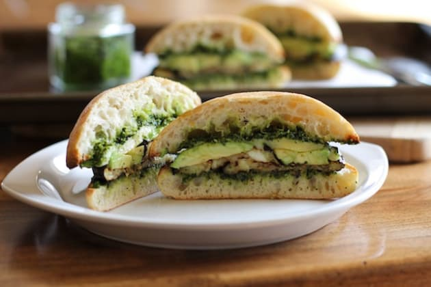 Roasted Eggplant Kale Pesto Sandwich Picture