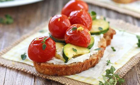 Roasted Zucchini and Tomato Crostini