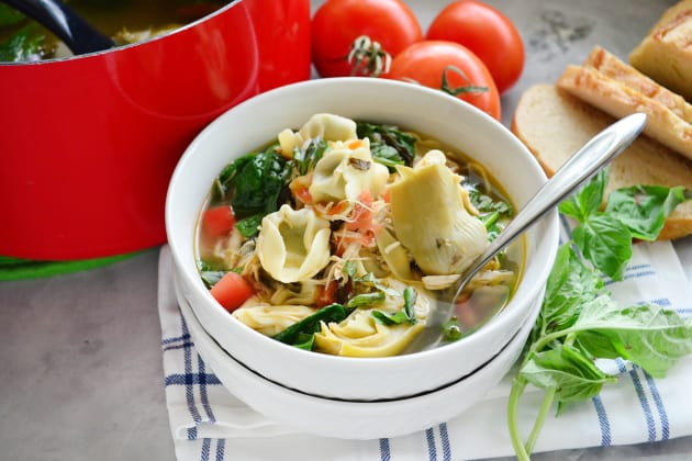 Lemon Artichoke Chicken Tortellini Soup Image