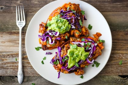 BBQ Tempeh Stuffed Sweet Potatoes Recipe