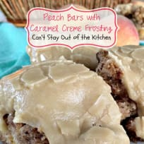 Peach Bars with Caramel Creme Frosting