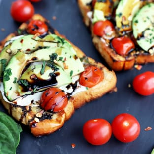 Grilled open faced avocado caprese sammies photo