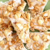 Salted Peanut Butterscotch Caramel Corn Bark Recipe