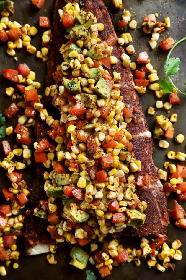 Grilled Salmon with Corn Avocado Salsa Pic